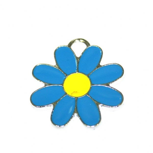1 x 22*22mm rhodium plated blue daisy with yellow bud enamel charm - SD03 - CHE1286